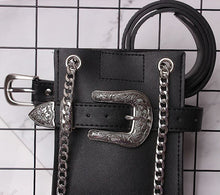 Load image into Gallery viewer, 2 in 1 Black Faux Leather Cross Body Belt Bag