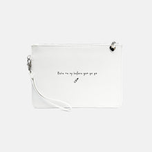 Load image into Gallery viewer, Make me up before you go go faux leather white pouch