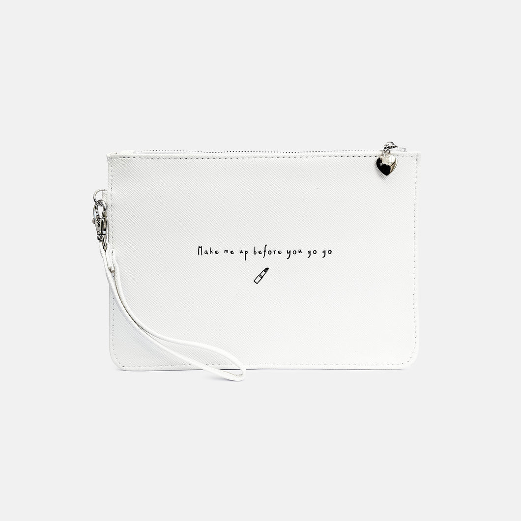 Make me up before you go go faux leather white pouch