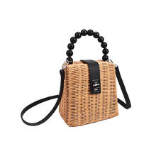Load image into Gallery viewer, Nude linen straw bag