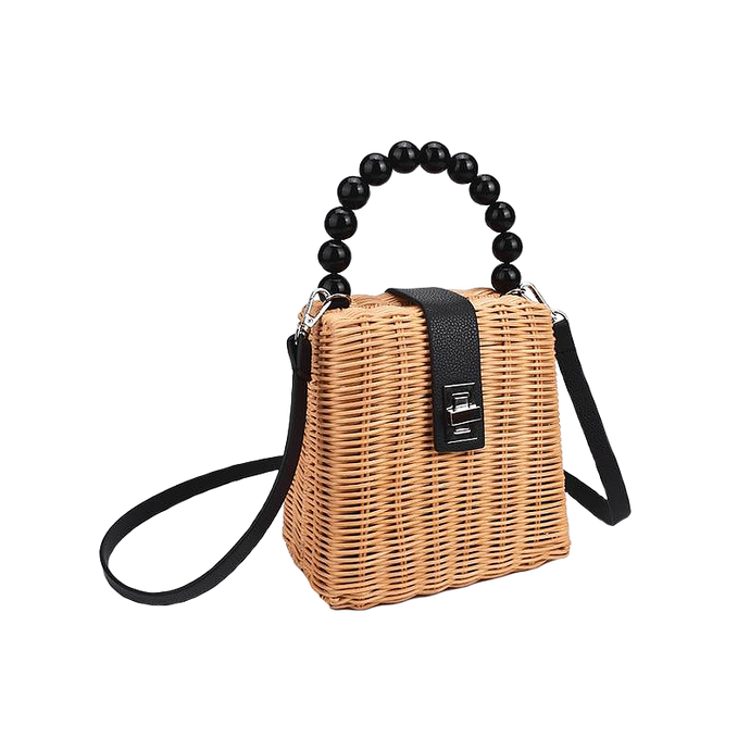 Nude linen straw bag