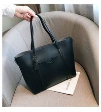 Load image into Gallery viewer, Black faux leather shopper bag