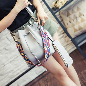 Grey faux leather bucket shoulder bag