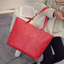 Load image into Gallery viewer, Red faux snake shopper bag