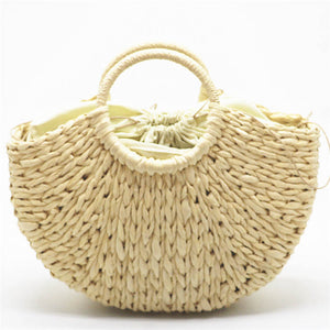 Nude paper straw beach bag