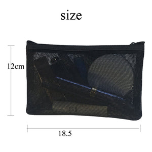 Transparent black mesh travel pouch