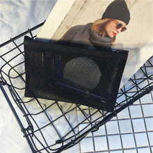 Load image into Gallery viewer, Transparent black mesh travel pouch