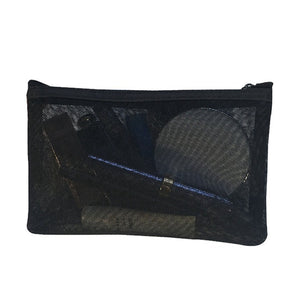 Transparent black mesh makeup pouch