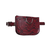 Load image into Gallery viewer, Burgundy Red Faux Snake Skin Bum Bag