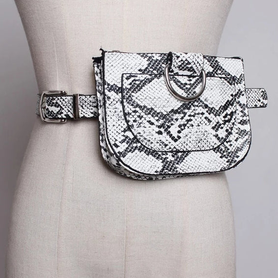 White Faux Snake Skin Bum Bag