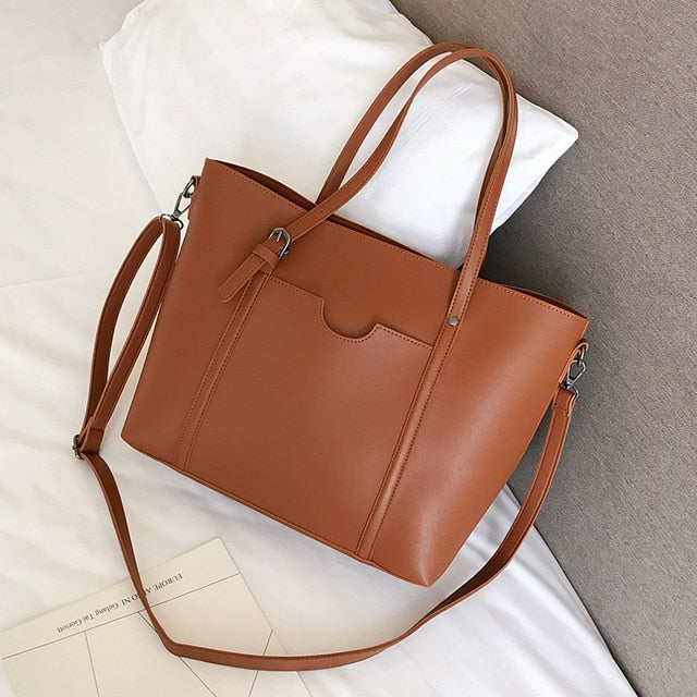 Brown faux leather shopper bag