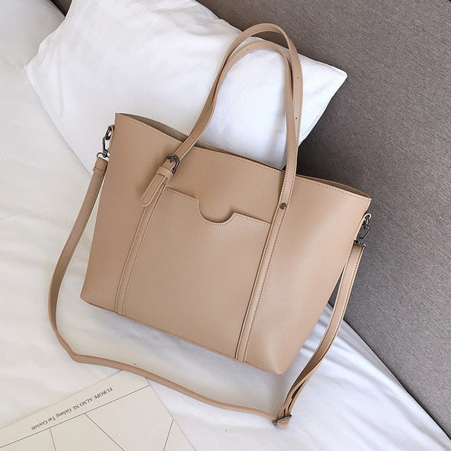 Nude faux leather shopper bag