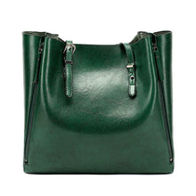 Load image into Gallery viewer, Forest green faux leather shopper bag