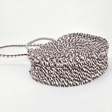 Load image into Gallery viewer, Brown and white round woven cross body bag