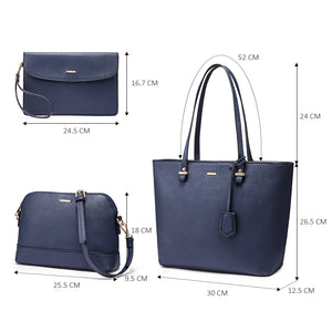 Handbag set in navy blue