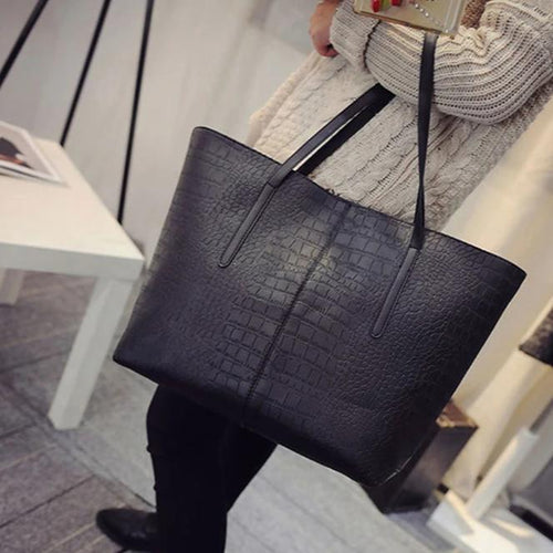 Black faux snake shopper bag