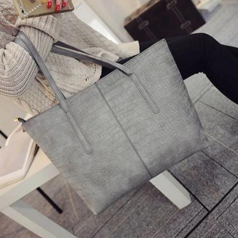 Grey faux snake shopper bag