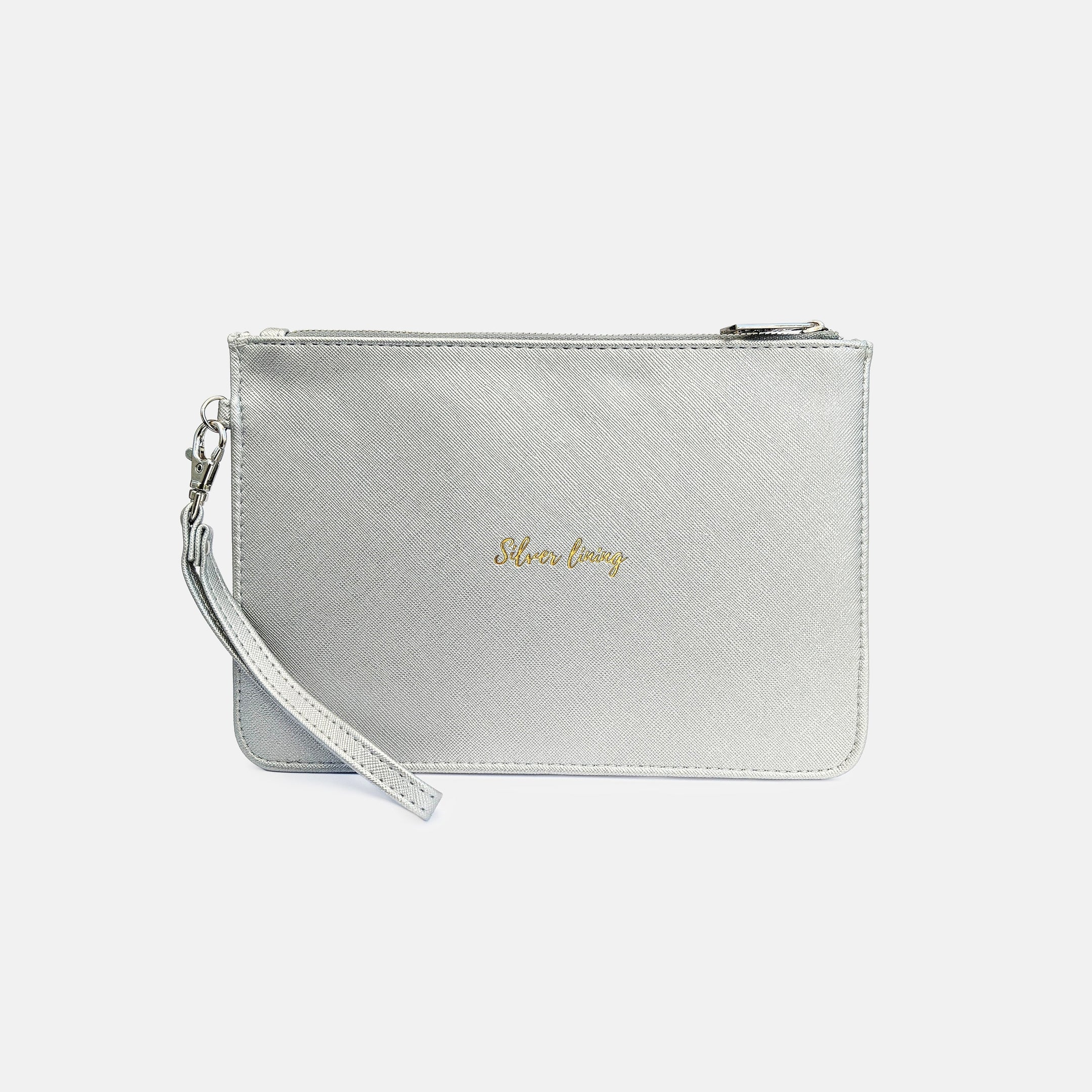 Silver lining faux leather silver pouch
