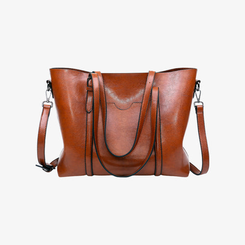 Brown faux leather shoulder bag
