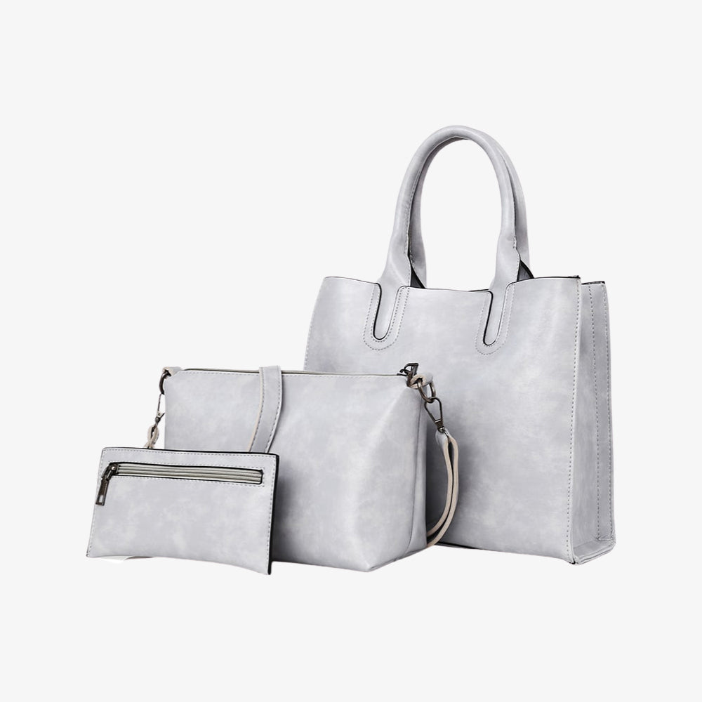Handbag set in grey marble