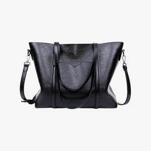 Black faux leather shoulder bag