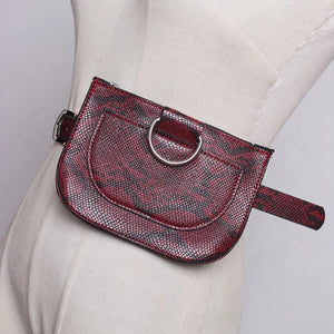 Burgundy Red Faux Snake Skin Bum Bag