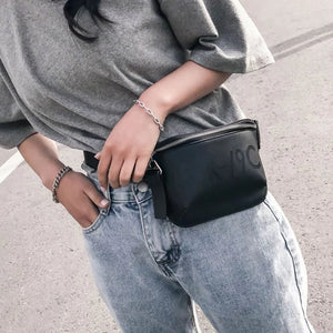 Black Faux Leather Bum Bag With Writing