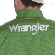 Wrangler PBR Mens Long Sleeve Green Logo Snap Shirt MP1335M
