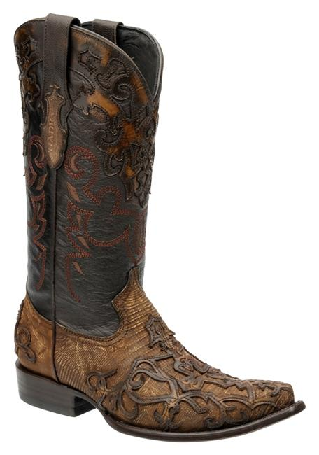 Cuadra Mens Lizard Teju Cowboy Boots Embroidered Fango Honey 2B07LT