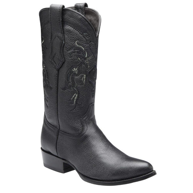 Cuadra Mens Genuine Deer Traditional Western Boot Black A3VENI