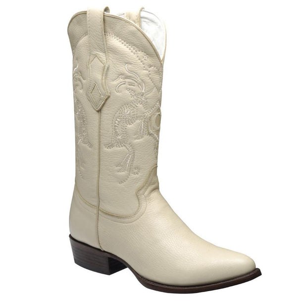 Cuadra Mens Genuine Deer Traditional Western Boot Bone A3VENI