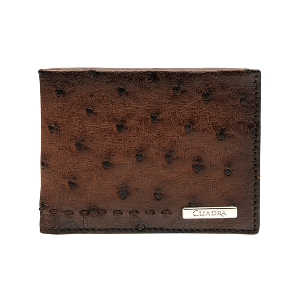 Avestruz 1ra Billetera Cafe/Ostrich Wallet Brown