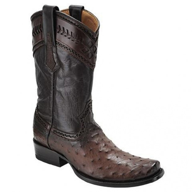 Cuadra Ostrich Semi Square Toe Flame Brown Boots 1J30A1BROWN