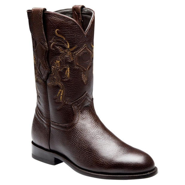 Cuadra Mens Genuine Deer Roper Boot C3VENI Brown
