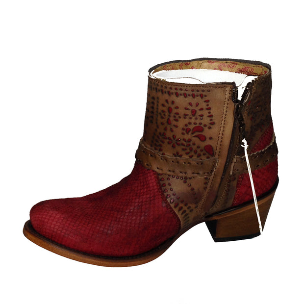 Cuadra Women Genuine Python Leather Round Toe With Side zziper 2K07PH