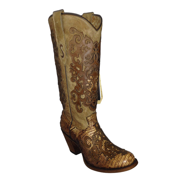 Cuadra Women Lizard Teju Wuth Leather Embroidery Dery Boot LTLTPV