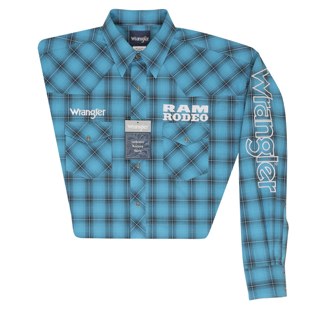 Wrangler® Logo Long Sleeve Shirt - MP1314M - Turquoise/Black