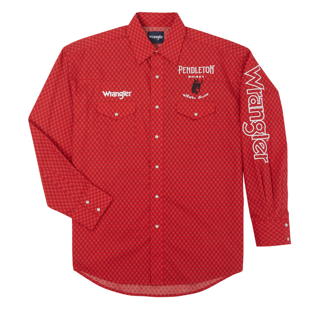 Wrangler® Logo Long Sleeve Shirt - MP1327R - Red/Black