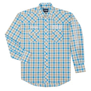 Wrangler® Logo Long Sleeve Shirt - MP1328M - Blue/Tan