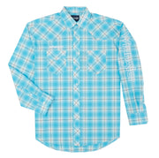 Wrangler® Logo Long Sleeve Shirt - MP2353M - Turquoise/White