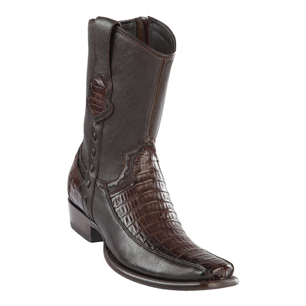 MEN'S WILD WEST BOOTS CAIMAN BELLY SHORT DUBAI FADED BROWN