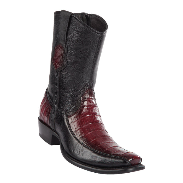 MEN'S WILD WEST BOOTS CAIMAN BELLY SHORT DUBAI FADED BURGUNDY
