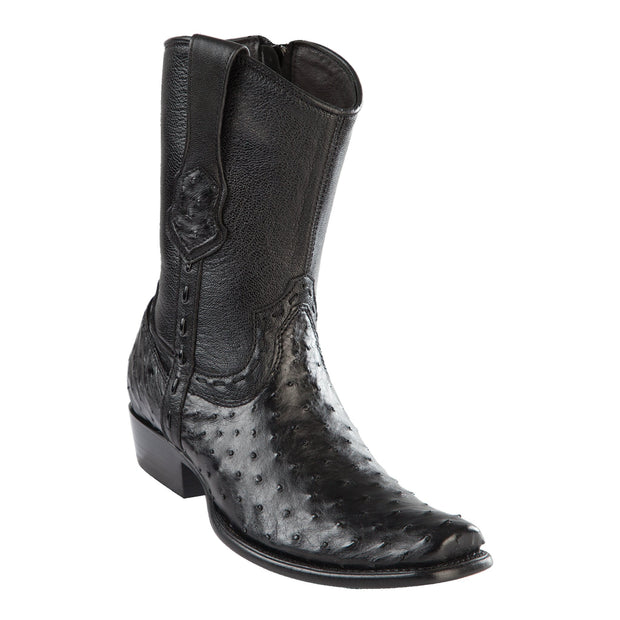 MEN'S WILD WEST BOOTS OSTRICH SHORT DUBAI BLACK