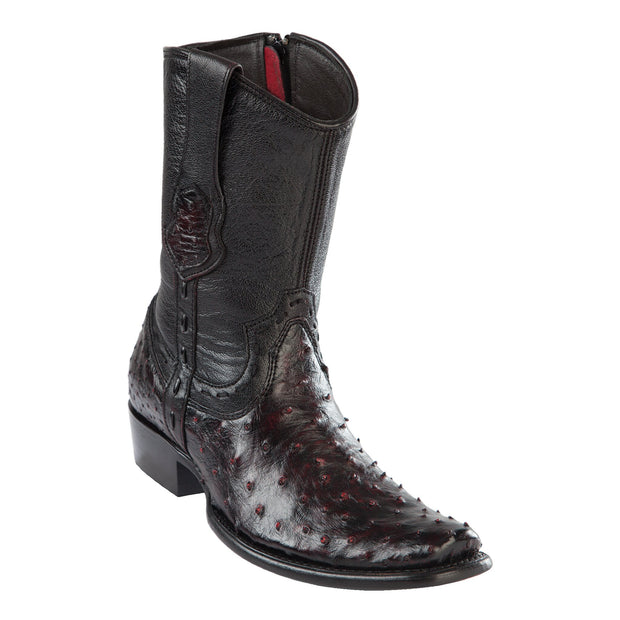 MENS WILD WEST BOOTS OSTRICH SHORT DUBAI BLACK CHERRY