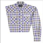 MEN'S WRANGLER LOGO RAM RODEO SERIES WESTERN SNAP PLAID SHIRT MP1307M