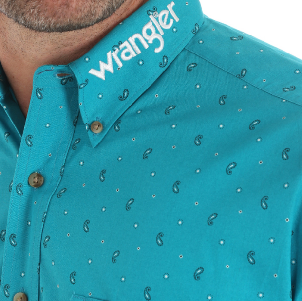 WRANGLER LOGO LONG SLEEVE BUTTON DOWN PRINT SHIRT MP2335M