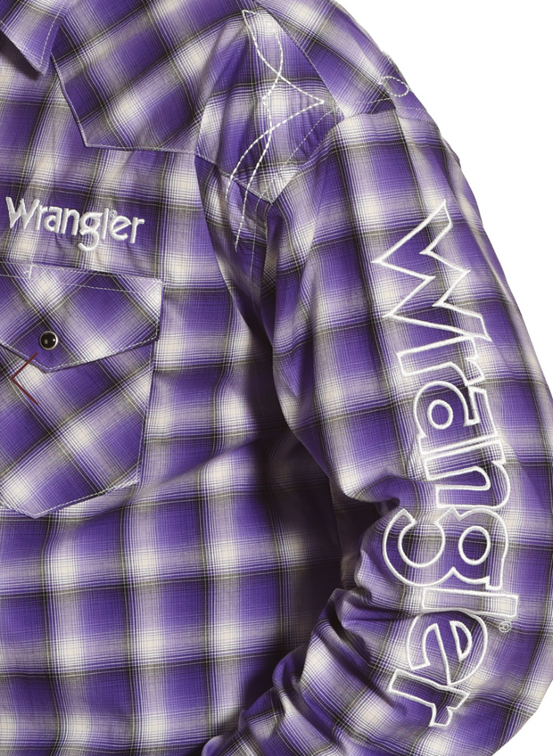Wrangler Men's Purple Plaid Logo Long Sleeve Western Shirt - MP1304M