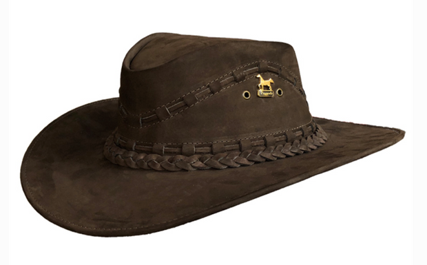 Brunello's Leather Hat in Coffee Brown