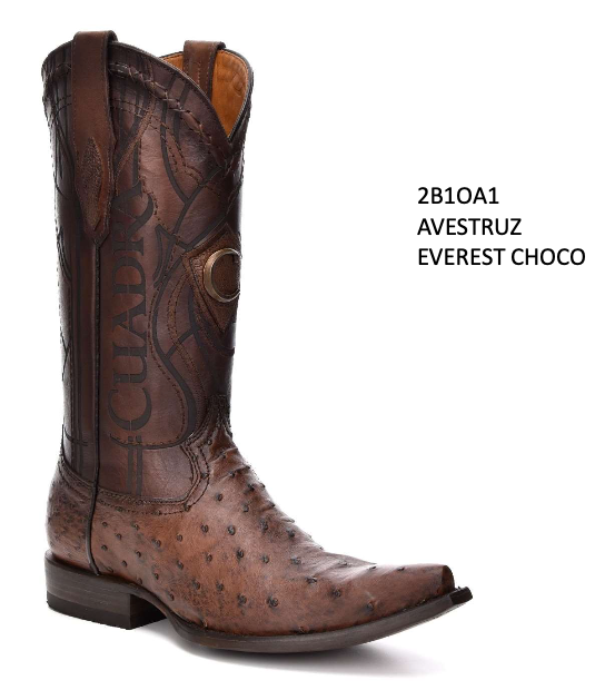 CUADRA MENS GENUINE OSTRICH BOOTS 2B1OA1 EVEREST CHOCO