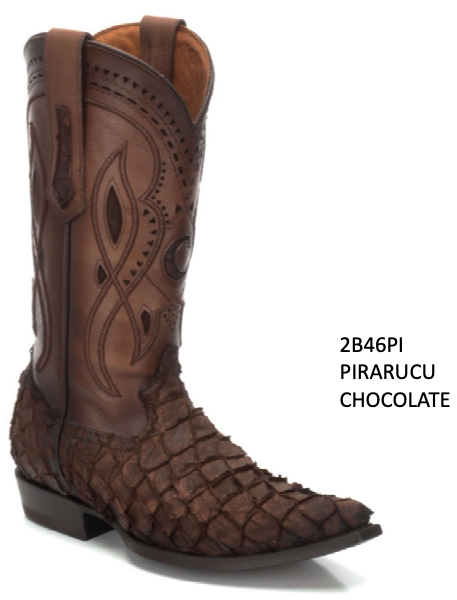 CUADRA MENS GENUINE PIRARUCU BOOTS 2B46PI CHOCOLATE